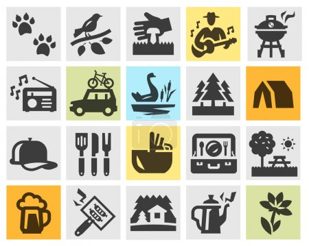 camping set black icons. signs and symbols