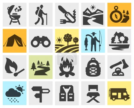hiking black icons set. trip, walking tour or expedition, camping signs and symbols