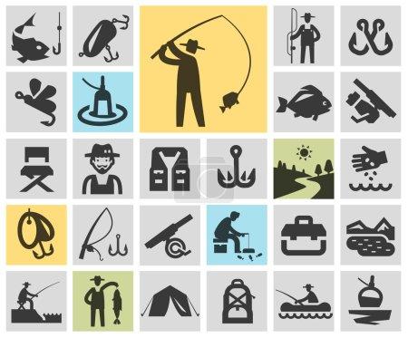 fishing set black icons. signs and symbols