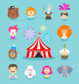 Fun fair circus performers and animals vector illustration
