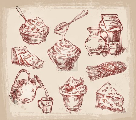 hand drawn sketch set of dairy products. vector illustration
