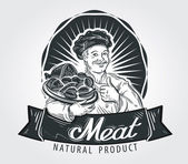 Meat vector logo design template.  food or sausage icon