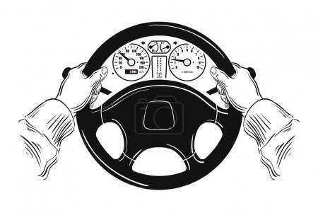 Illustration pour Volant automobile et les mains du conducteur sur fond blanc - image libre de droit