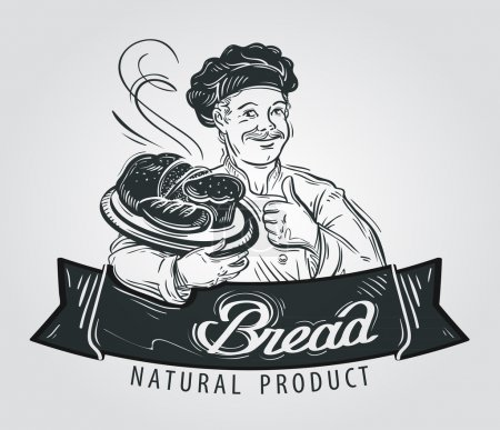 bread vector logo design template. pastry or bakery icon