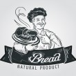 Hand-drawn chef with bread in hand on white backgr...