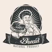 Bread Baker with a tray in his hand vector illustration