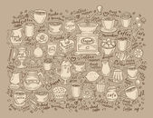 Hand drawn doodle set coffee Vector illustration