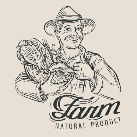 farmer with a basket of fresh vegetables. vector illustration