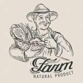 farmer with a basket of fresh vegetables vector illustration