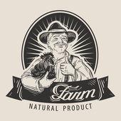 Farm vector logo Farmer farming or chicken farm icon