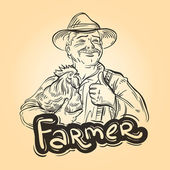 farming vector logo farmer grower or chicken icon