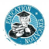 School college vector logo Graduate student or education icon