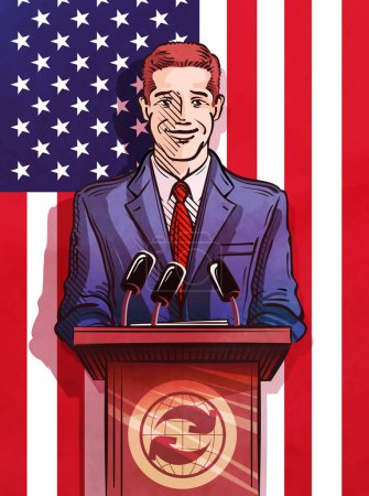Politician behind the podium making the report. vector illustration