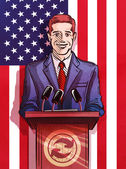 politician behind the podium making the report vector illustration