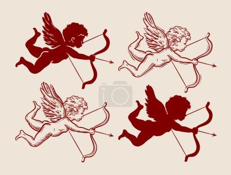Illustration pour Cupidon volant avec arc et flèche. illustration vectorielle - image libre de droit