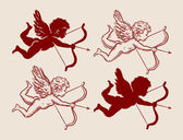 set of cute Cupid silhouettes vector illustration