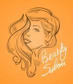 """Постер, картина, фотообои """"красивая молодая женщина с длинными волосами. Векторные иллюстрации"""""""
