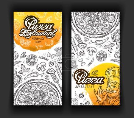 Pizza restaurant vector logo design modèle. icônes de restaurant, salle à manger ou cuisine