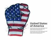 fist  flag USA United States of America vector illustration