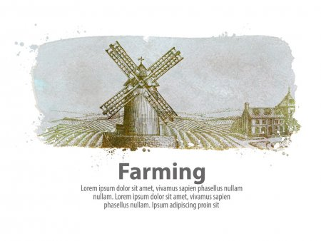 farming or the old windy mill. vector illustration