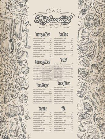 Photo pour Menu de restaurant avec des éléments graphiques dessinés à la main sur le sujet de la nourriture, boissons - image libre de droit