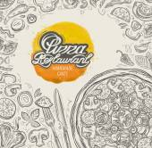vector hand drawn pizza restaurant sketch and food drinks doodle