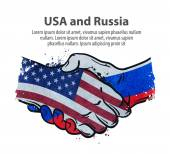 handshake United States and Russia vector illustration