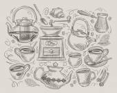 Hand drawn sketch on the theme of food and coffee vector illustration