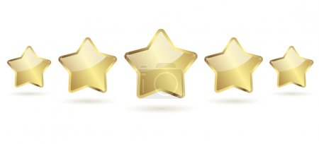 5 golden stars with shadow in a row