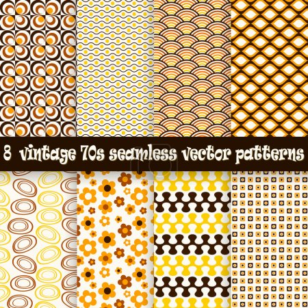 Illustration for Collection of eight seamless vintage 70s backgrounds - Royalty Free Image