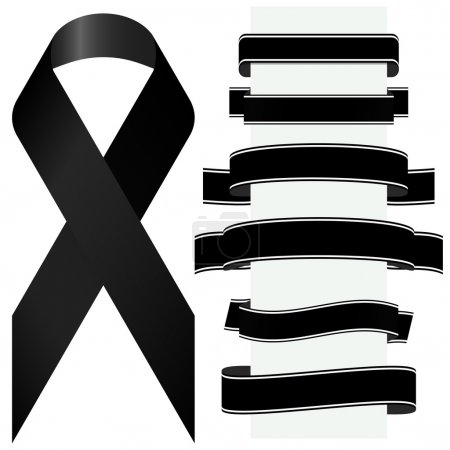 Illustration for Mourning concept with black awareness ribbon and different banners - Royalty Free Image