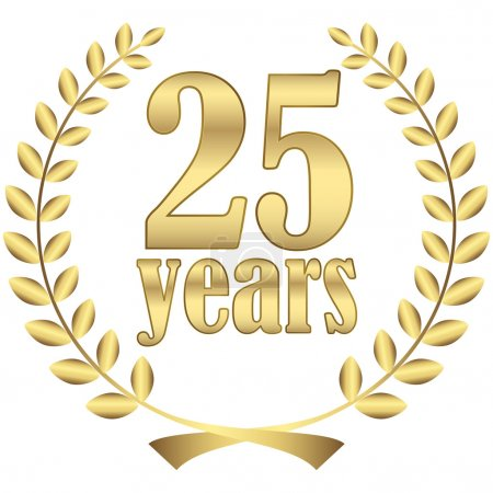 Illustration for Laurel wreath for firm jubilee with text 25 years - Royalty Free Image