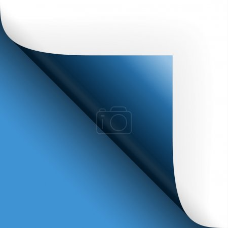 Illustration for Paper or page turning over bottom left blue - Royalty Free Image