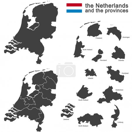 Illustration pour Silhouette des Pays-Bas et des régions - image libre de droit