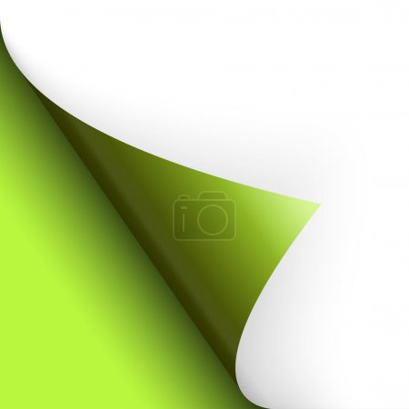 Illustration for Paper or page turning over bottom left green - Royalty Free Image