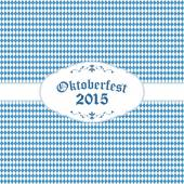 Oktoberfest background with blue-white checkered pattern banner and text Oktoberfest 2015