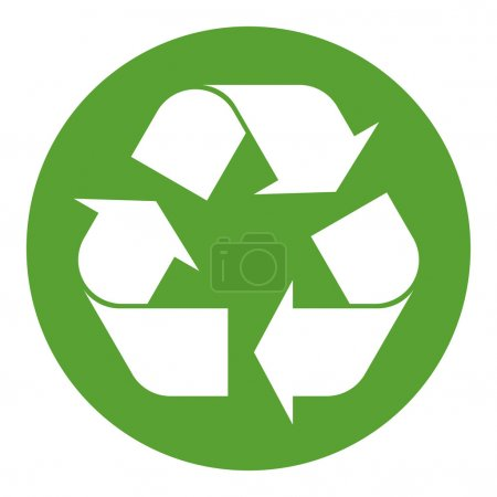 Recycling symbol white on green