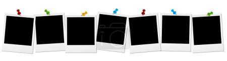 Ilustración de Siete fotos antiguas con agujas perno coloreado en una fila - Imagen libre de derechos
