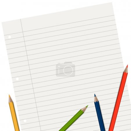Illustration for Empty lined paper with different colored pencils - Royalty Free Image