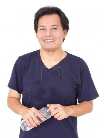 Asian Man With Water Bottle Isolated On White....