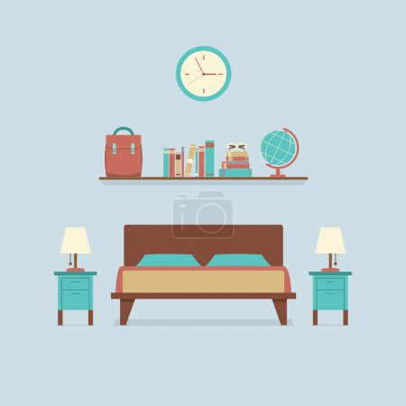 Illustration for Flat Design Bedroom Interior Vector Illustration - Royalty Free Image