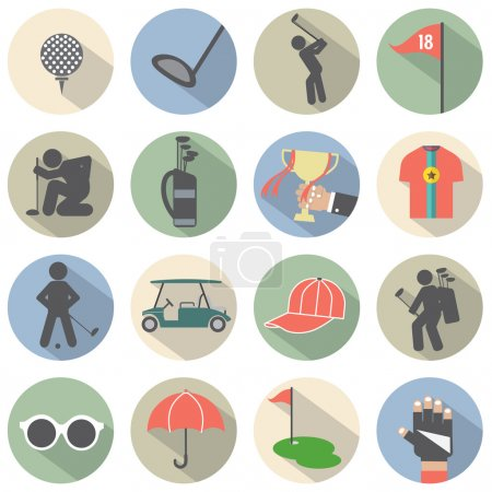 Modern Flat Design Golf Icon Set Vector Illustration