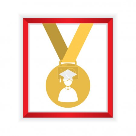 First Class Honors Gold Medal Graduation Vector Illustration