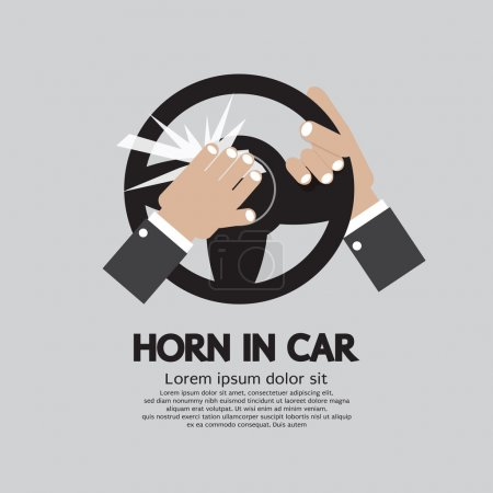 Illustration for Man Honking The Horn In a Car Vector Illustration - Royalty Free Image