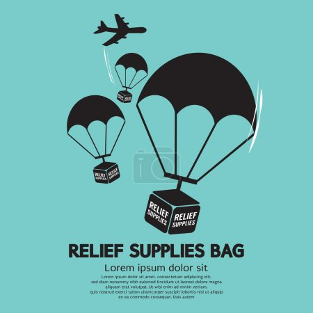 Illustration for Relief Supplies Bag With Parachutes Vector Illustration - Royalty Free Image