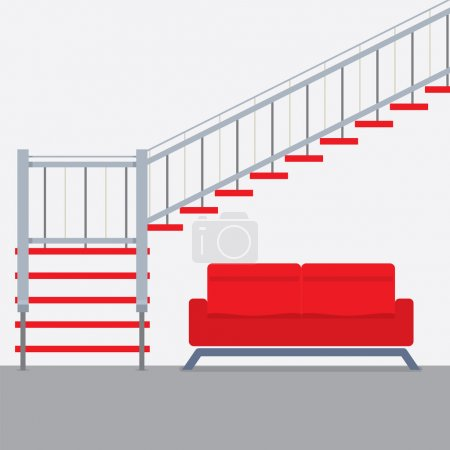 Interior Design Stairs With Sofa Vector Illustration