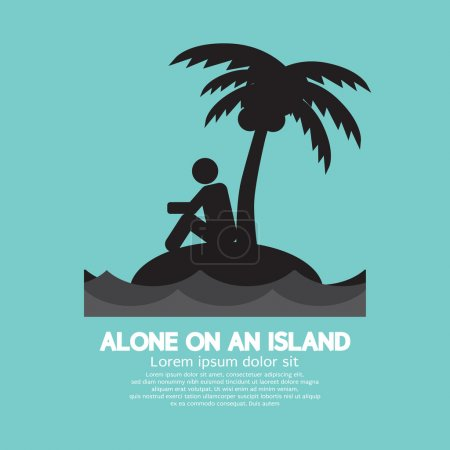 Alone on an Island Black Symbol Vector Illustration