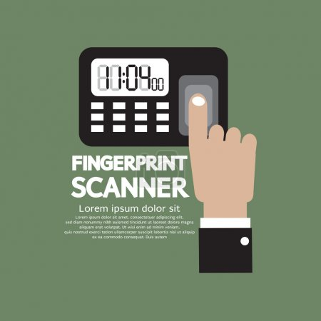 Finger On Fingerprint Scanner Device Vector Illustration