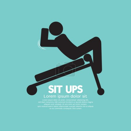 Symbol  Of A Man Sit Ups Training On Equipment Vector Illustrati