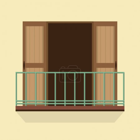 Open Doors With Balcony Vintage Style Vector Illustration